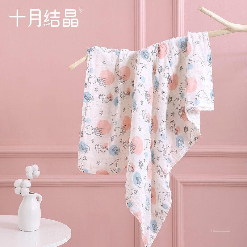 十月结晶婴儿浴巾纯棉纱布初生新生儿全棉超柔吸水宝宝儿童大毛巾
