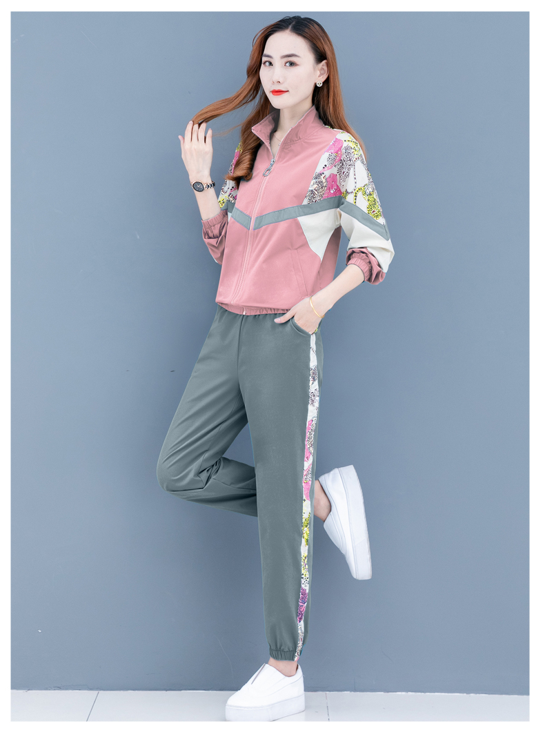 Clearance leisure sports suit women's spring and autumn 2020 new Korean version of the fashion color printing long sleeves thin two-piece set 56 Online shopping Bangladesh