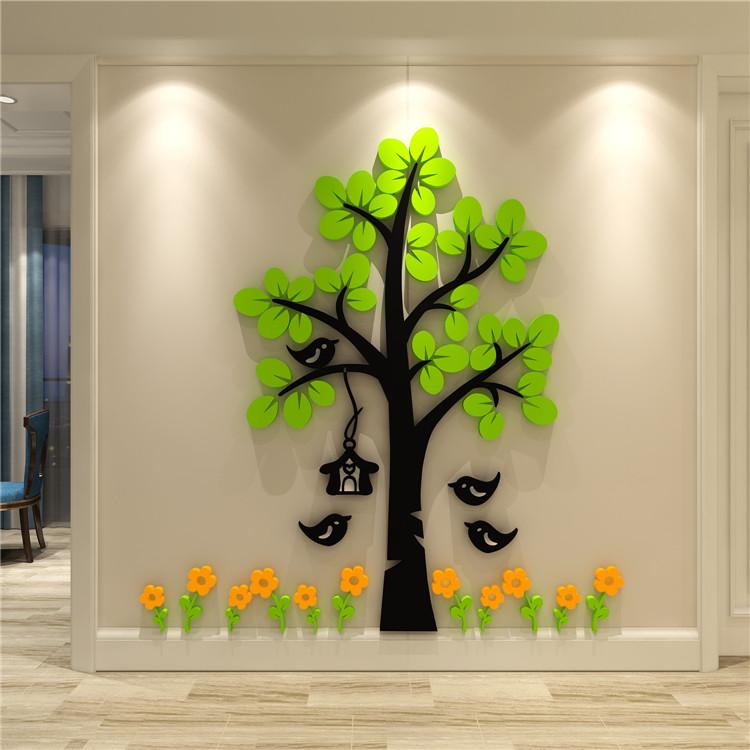 创意亚克力立体树3d客厅墙贴背景卧室卡通电视沙发画纸自粘装饰品