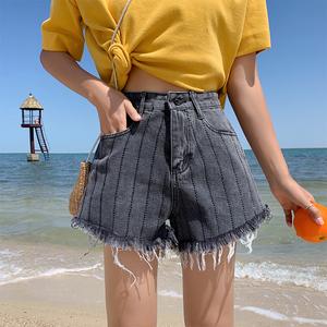 實價實拍 港味韓版寬松闊腿熱褲重工條紋燙鉆須邊牛仔短褲女