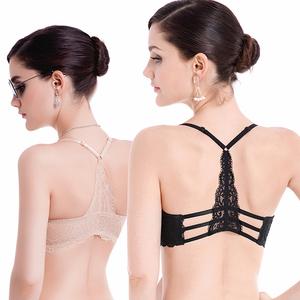 前扣美背文胸 聚拢性感薄款 小胸内衣女加厚蕾丝露背交叉带文胸罩