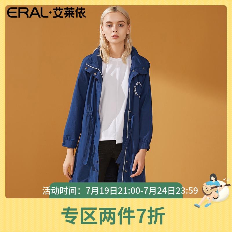 ERAL/艾莱依风衣女中长款韩版秋季外套新款百搭印花时尚617064017