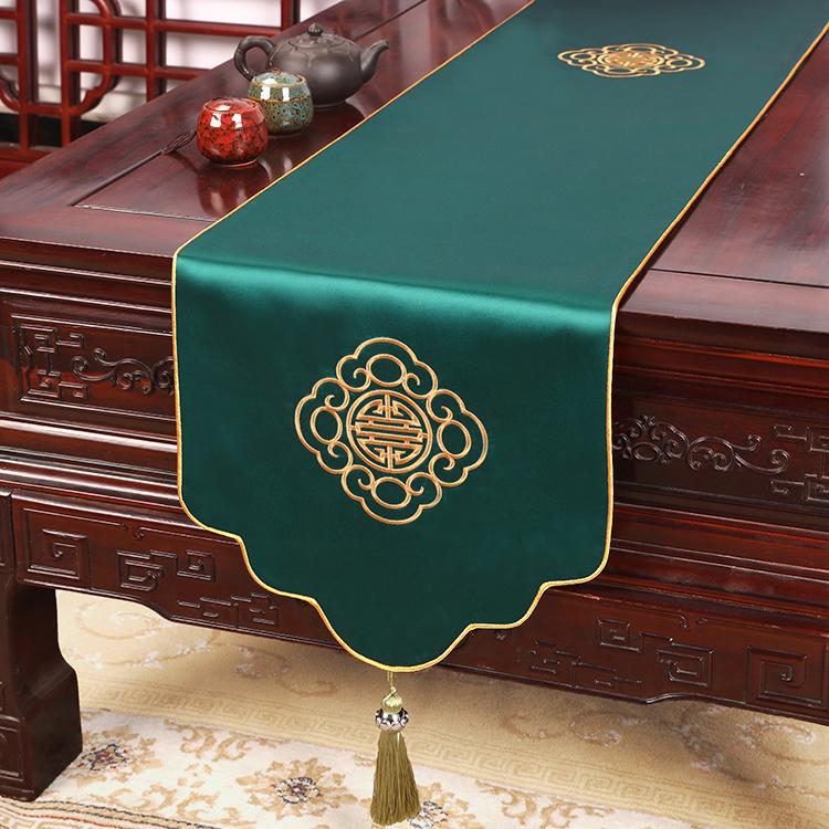 艺必旭新中式禅意刺绣茶席餐桌旗茶巾布艺玄关电视柜旗长条装饰