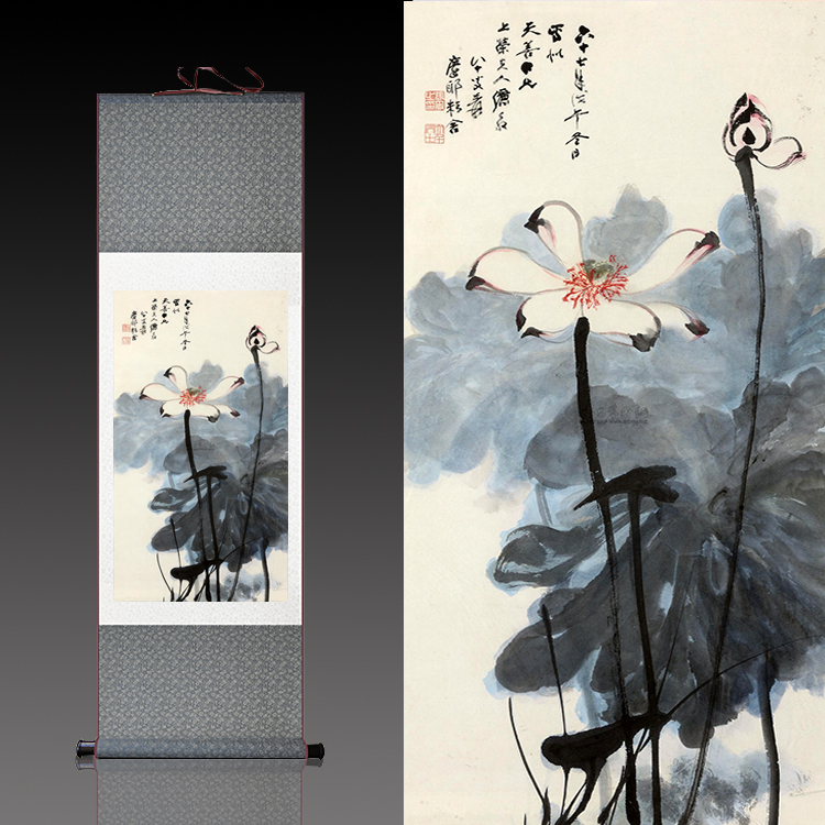 a97d3ad18 Zhang Daqian ink lotus silk painting scroll painting Chinese painting flower  and bird painting has been installed can be customized famous calligraphy  and ...