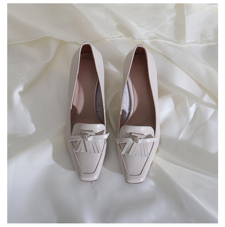 墨染·蓮花府邸里外全皮單鞋2121新款淺口高跟鞋時尚簡約方頭百搭女鞋子
