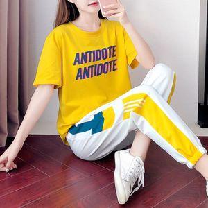2020春夏季新款运动套装女纯棉短袖长裤时尚韩版潮休闲服两件套装