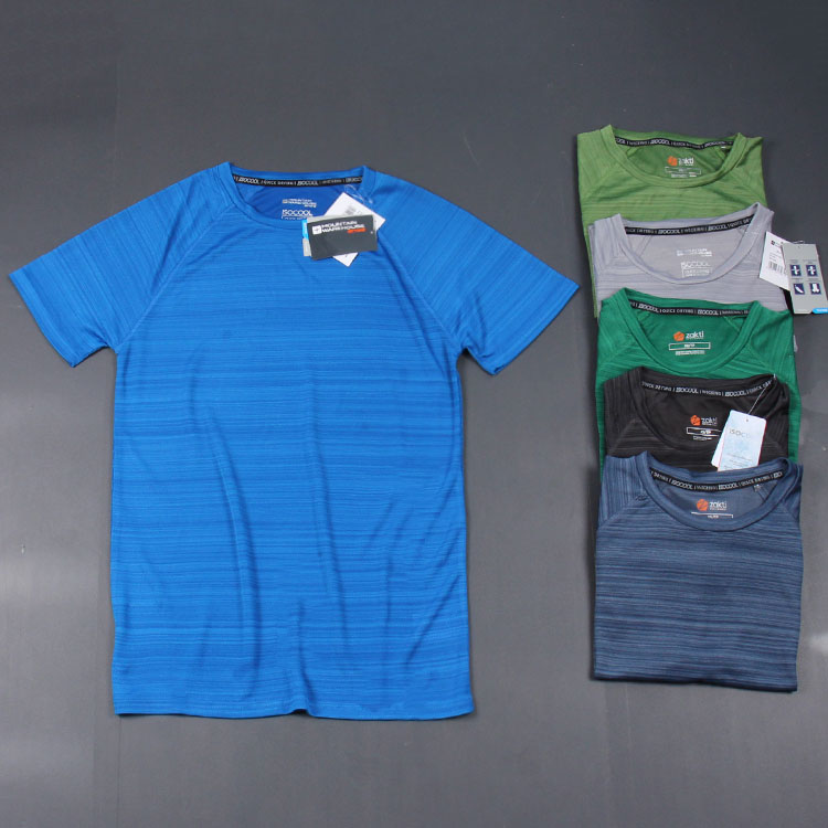Thể thao cũng đẹp trai thời trang nếp nhăn cổ tròn thoáng khí tập thể dục chạy nhanh khô mềm người đàn ông giản dị của ngắn tay T-Shirt mùa hè người đàn ông