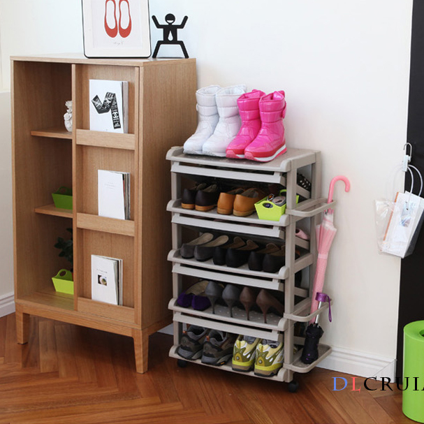 South Korea Imported Plastic Door Shoes Shelf Creative Simple Finishing Stand Vertical Storage Rack Shoe Cabinet Multi Layer