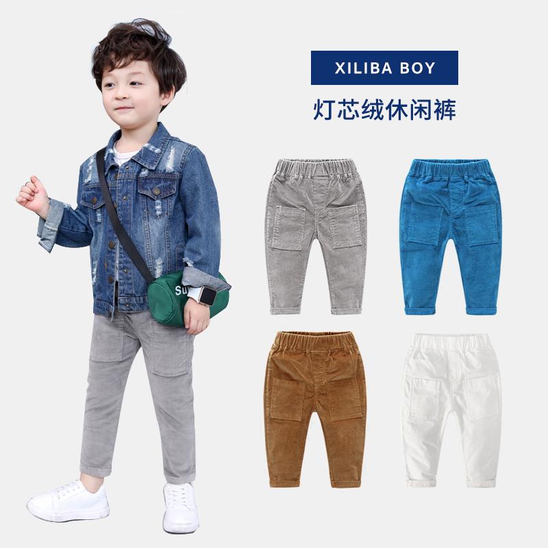 Мальчиков брюки для мальчиков 2018 новинка зимний осеннний ребятишки небольшой ребенок вельвет паста мешок брюки ребенок ребенок случайный брюки