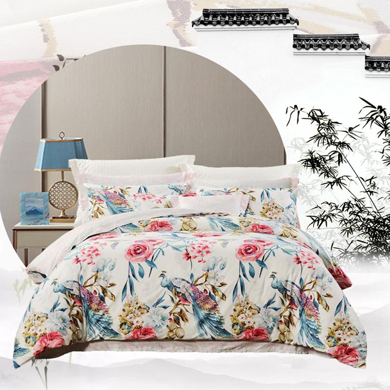 富安娜四件套全棉纯棉公主风三件套床单被套