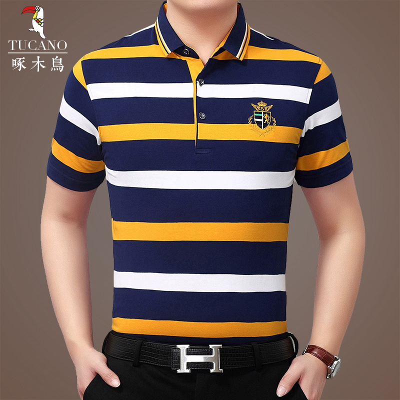 eb6b85e0f58 Woodpecker Cotton father loaded lapel striped short-sleeved T-shirt male  40-50 years old middle-aged summer men S POLO shirt