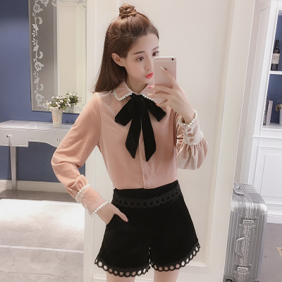 2018 Spring New Korean Fancy Fancy Lapel Bow Tie Lace Shirt Women's Velvet Base Shirt Shirt