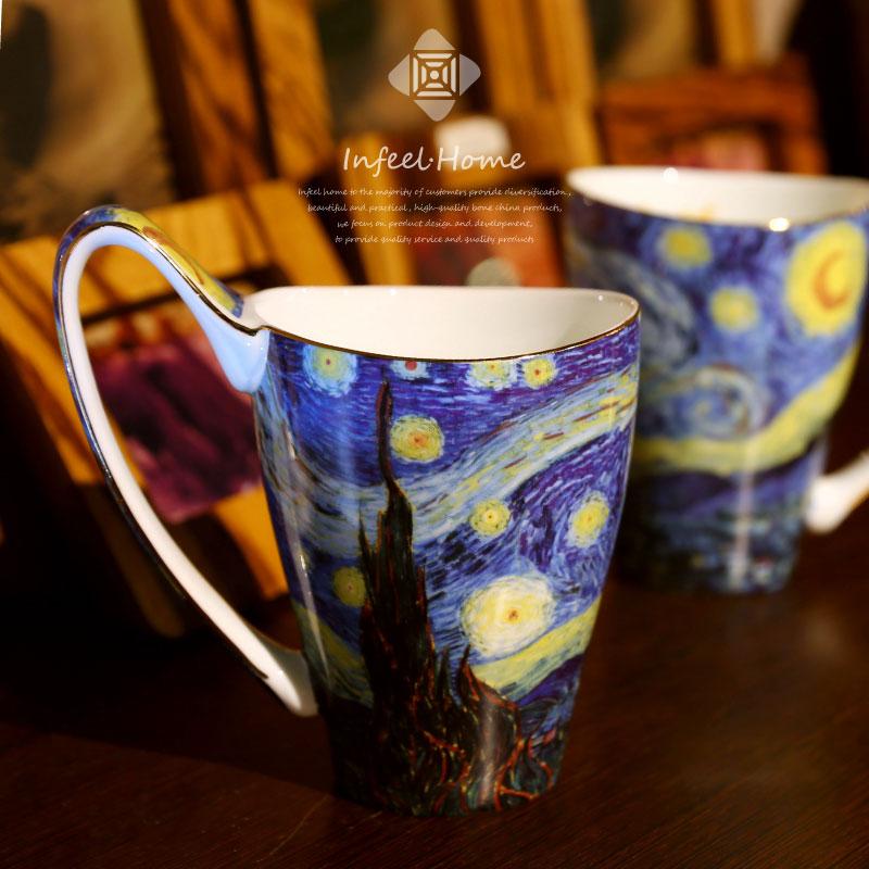 梵高复古水杯情侣马克杯大容量创意咖啡杯女手绘欧式文艺礼品怀子