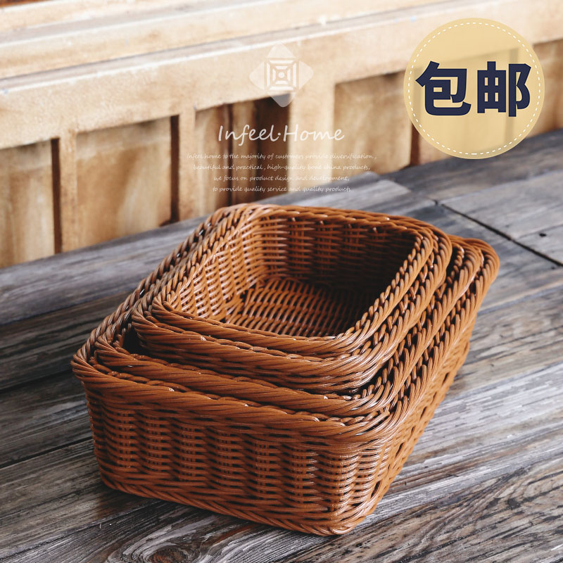 Fruit Basket Rattan Woven Storage Basket Baking Bread Basket PP Simulation  Plastic Vegetable Supermarket Rectangular Basket