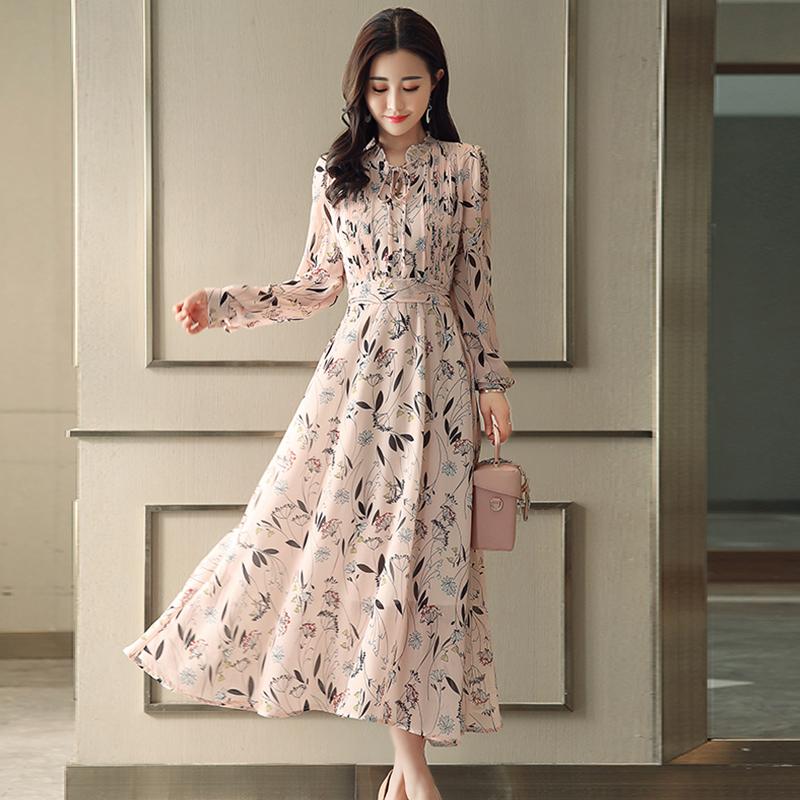 连衣裙2019新款秋季女韩版气质修身显瘦长款过膝长裙碎花雪纺裙子