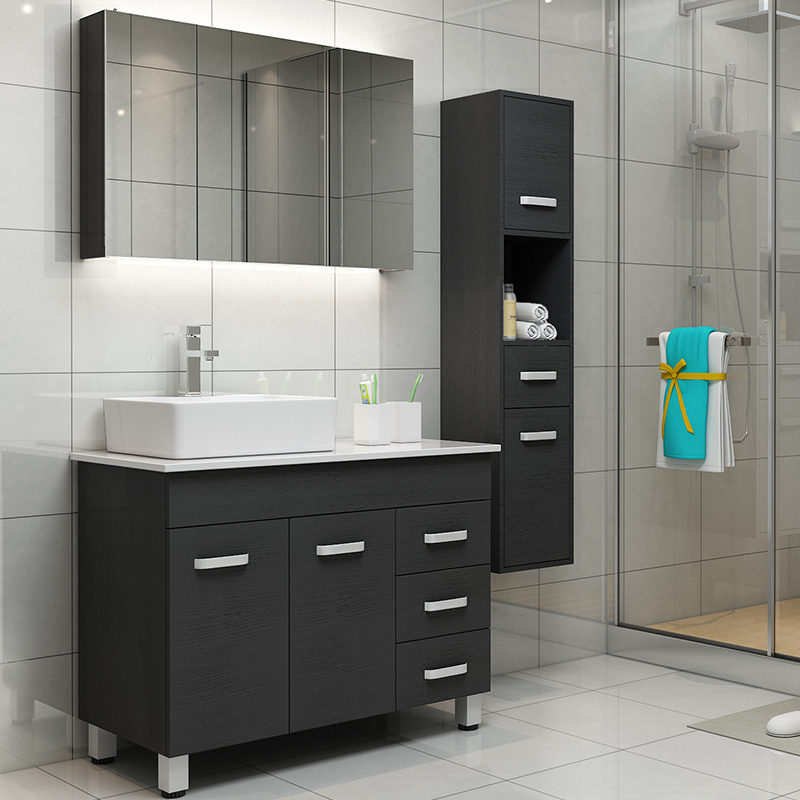 Sanitary Ware Nordic Modern Minimalist Floor To Ceiling Bathroom Cabinet Combination Of Wash Hand