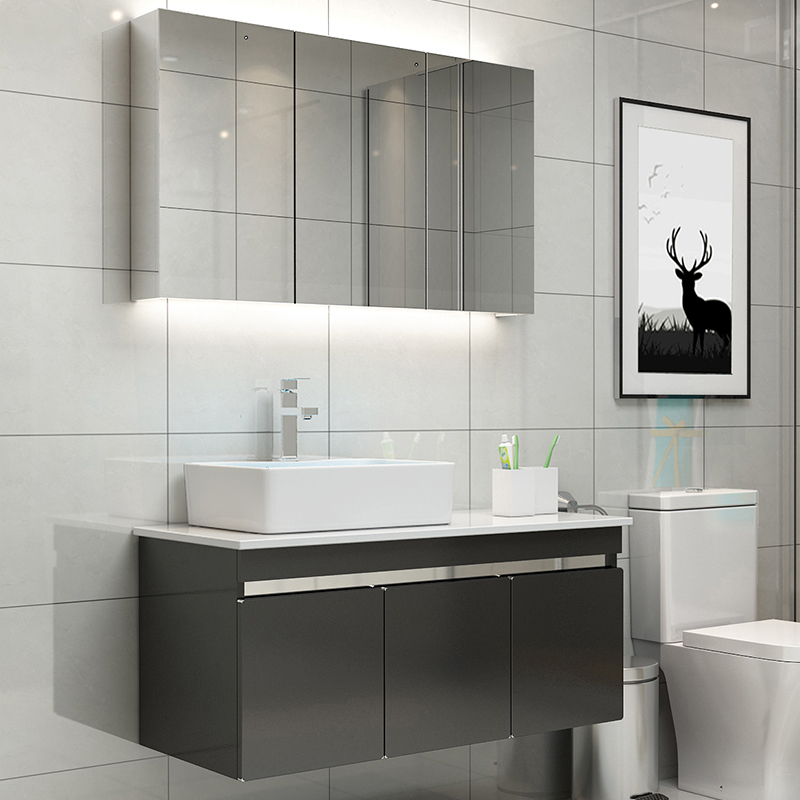 Sanitary Ware Nordic Stainless Steel Bathroom Cabinet Combination Of Modern Minimalist Wash Hand Washing Basin Pool