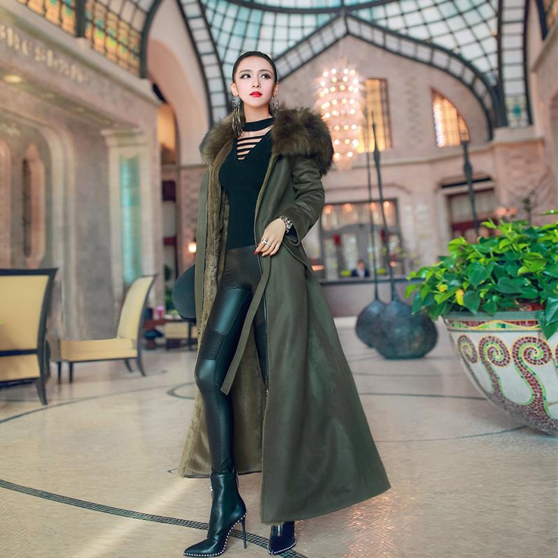 秋冬装加厚新款欧洲站外套拼接连帽仿大衣皮草棉衣长款兔毛棉服女
