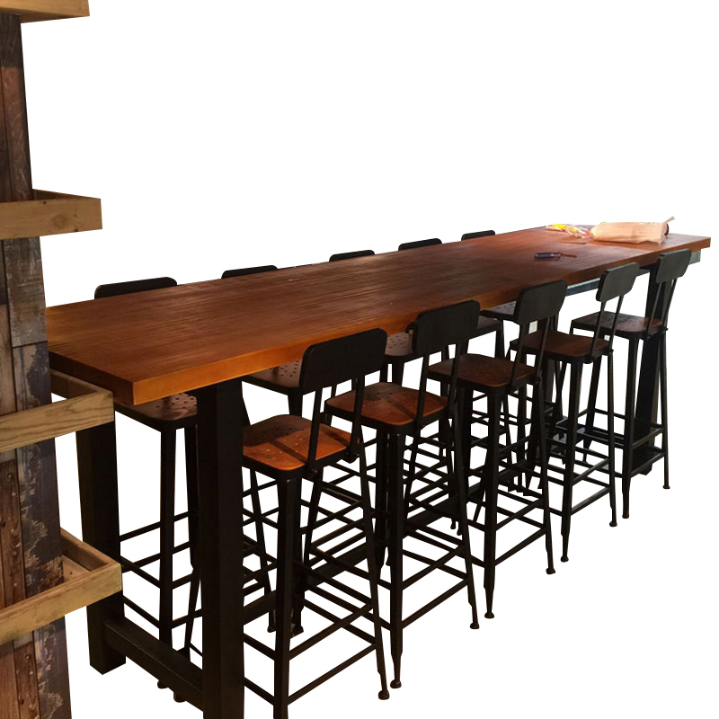 Simple Style Wooden High Footed Bar Table Iron Art Long Table Household  Wall High Footed Milk ...