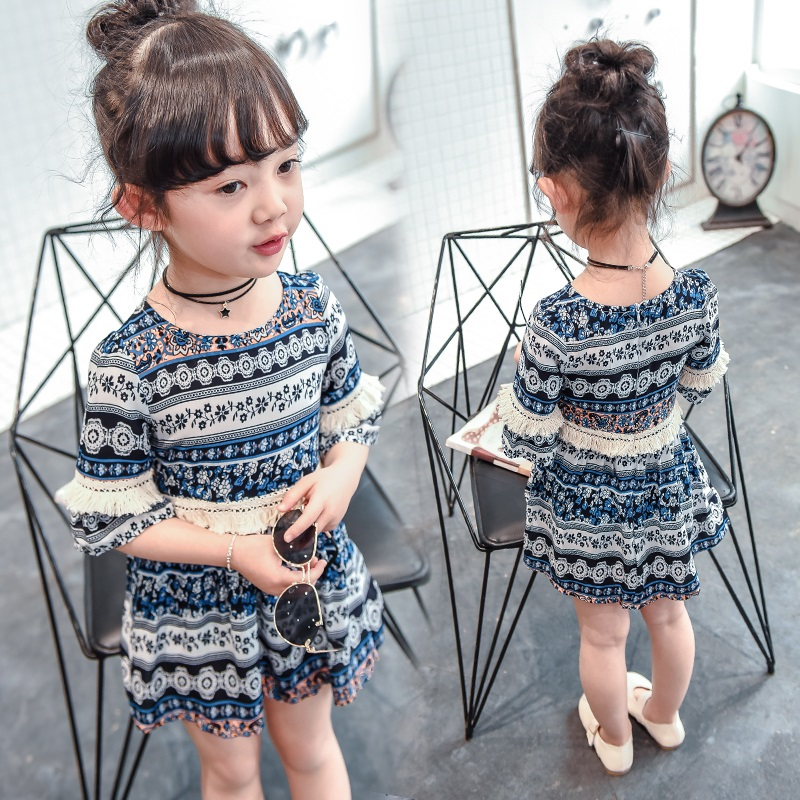 95e157ac04a1 Girl Summer 2019 new 3 children's clothing 4 girl chiffon skirt 5 baby  foreign gas 6 year old child princess dress