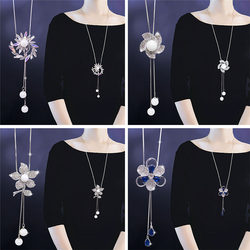 Two pieces of 20% off Japanese and Korean fashion style flower sweater chain long necklaces autumn and winter clothing accessories decoration hanging accessories