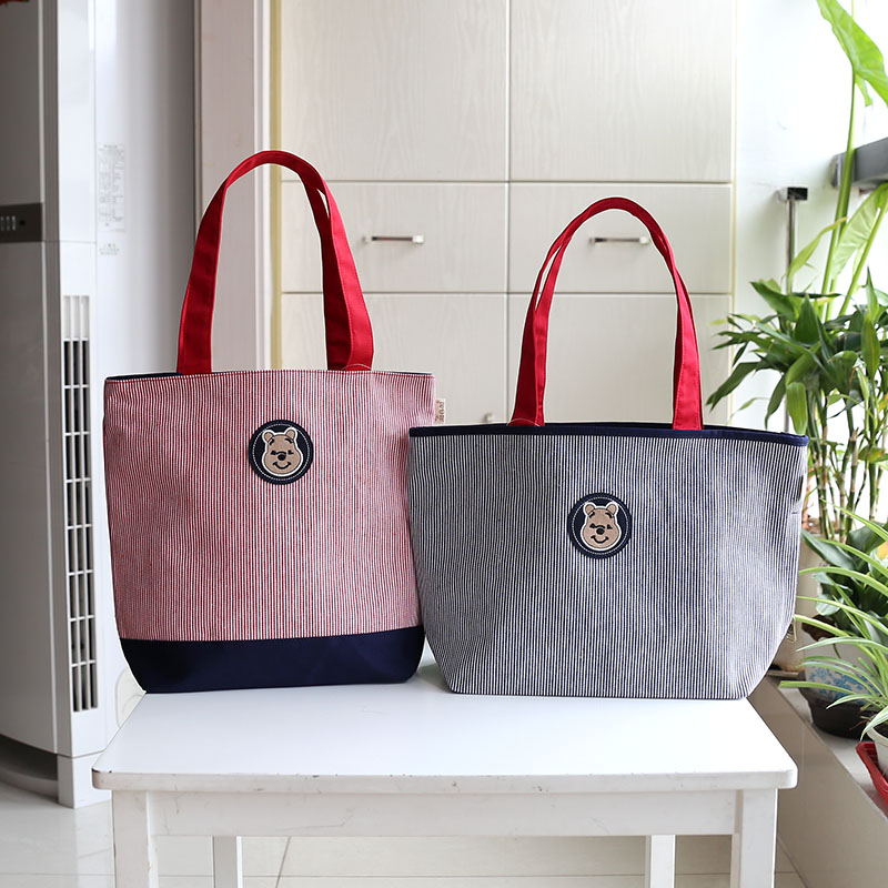 283fb29fd6 Bear striped thick canvas bag student bag work bag large security shopping  bag shoulder bag handbag