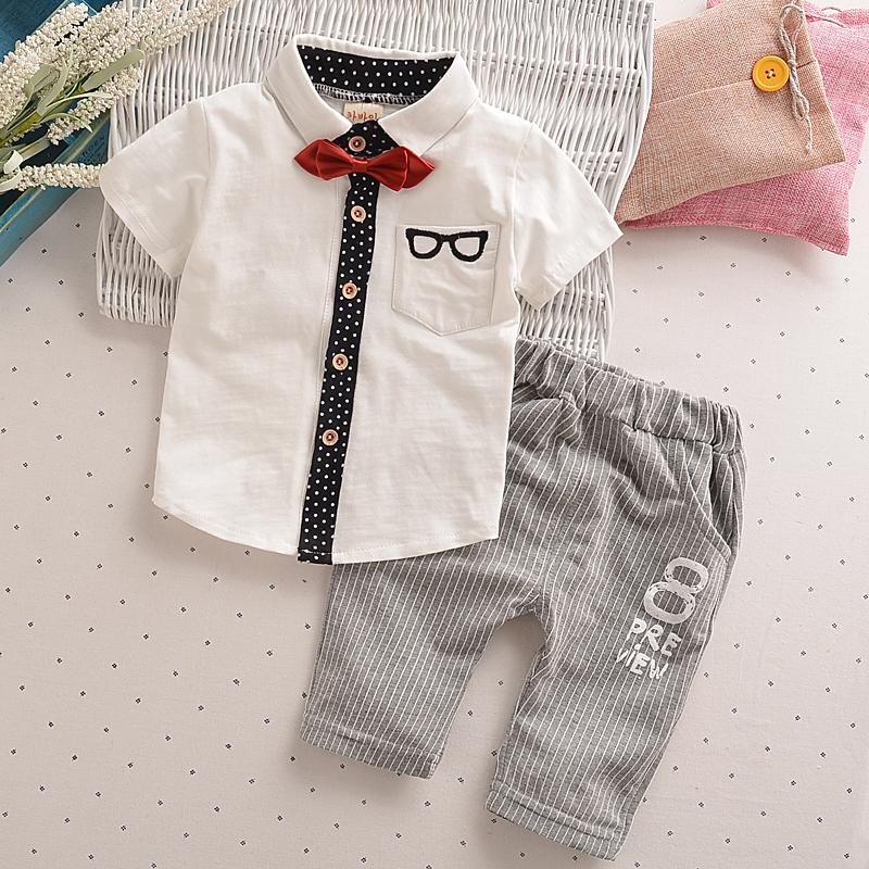 男童夏装套装韩版新款儿童短袖夏季衬衫两件套1-2-3-4岁男宝宝潮