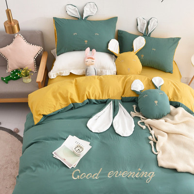 INS wind rabbit ear solid color water wash cotton four sets of teenage heart super soft DER abrasive bedding sheets