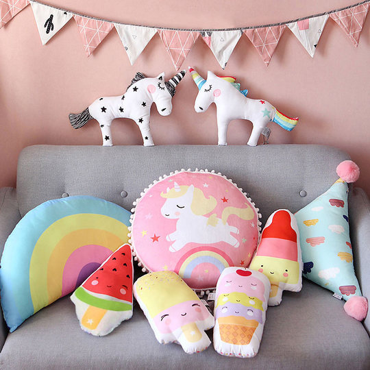 Unicorn INS pillow cute pillow pad cartoon girl heart child sleep small pillow northern European sofa