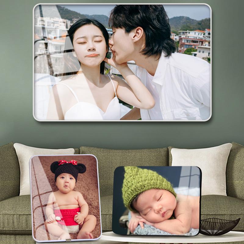 洗照片做成相框摆台照片定制水晶照片摆件结婚照片相框挂墙婚纱照