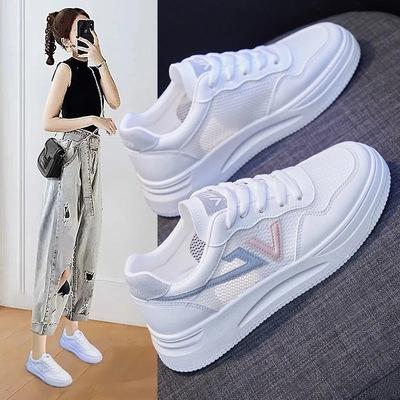 小白鞋女鞋2021夏季新款百搭镂空透气单网面帆布运动板鞋网鞋薄款