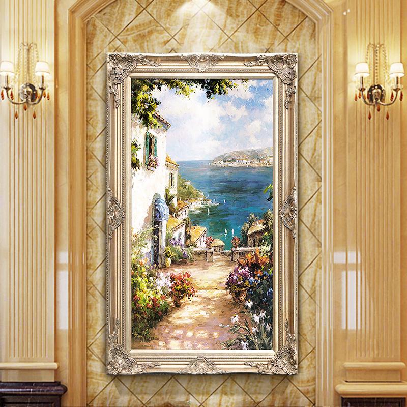 欧式定制过道手绘地中海油画大气壁画挂画风景客厅玄关竖版装饰画