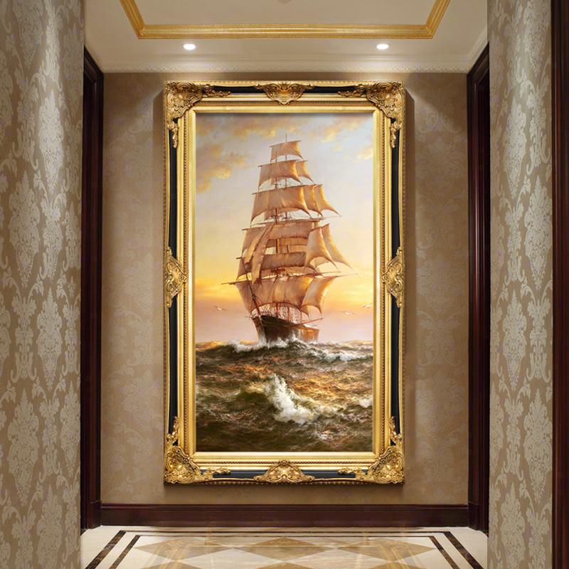 欧式玄关油画竖版走廊过道装饰画美式挂画手绘画帆船定制一帆风顺