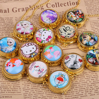 Children's animation rotating clamshell simple pocket watch necklace creative gifts cartoon table quartz watch retro lanyards students