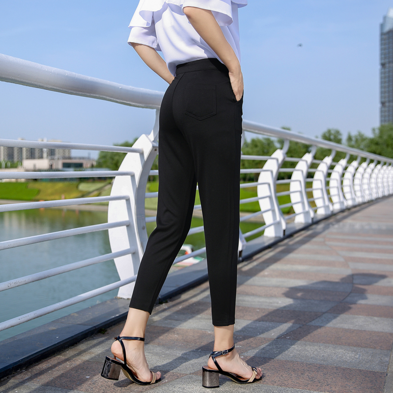 黑色高腰休闲裤西装裤萝卜裤九分女裤烟管裤阔腿裤大码哈伦裤韩版