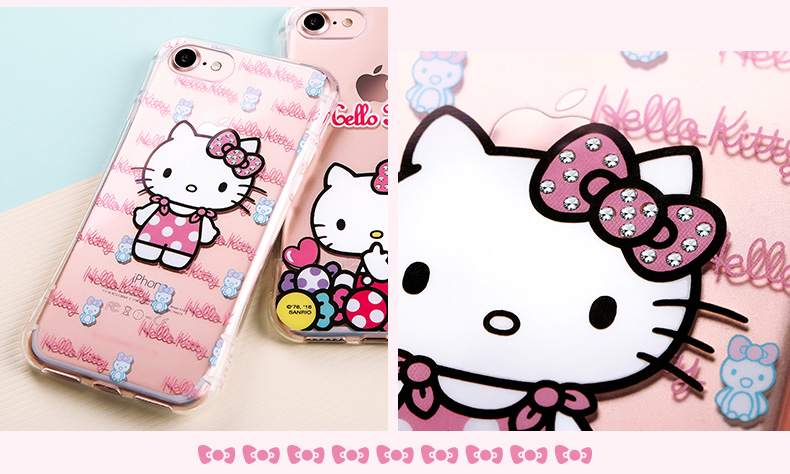Hello Kitty Cincher Slim Waist Bling Crystal Rhinestone Diamonds Transparent TPU Cover Case for Apple iPhone 7 Plus & iPhone 7