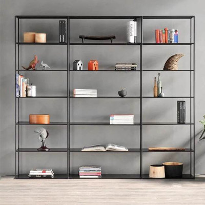 Nordic minimalist wrought iron books, wall shelf living room, office display shelf multi-layer floor shelf shelf