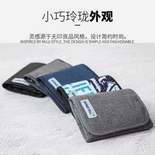 Multifunctional outdoor sports men and women three fold wallet a short section of vertical section nylon tactical canvas bag student ID card