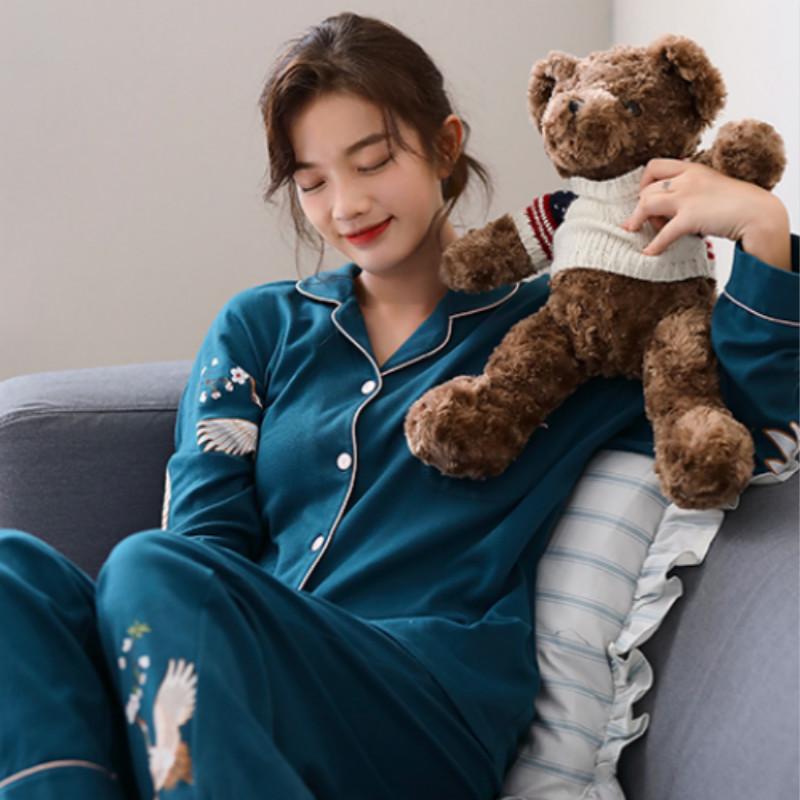 眠度新款睡衣女春秋季纯棉长袖中国风可外穿秋冬季家居服两件套装