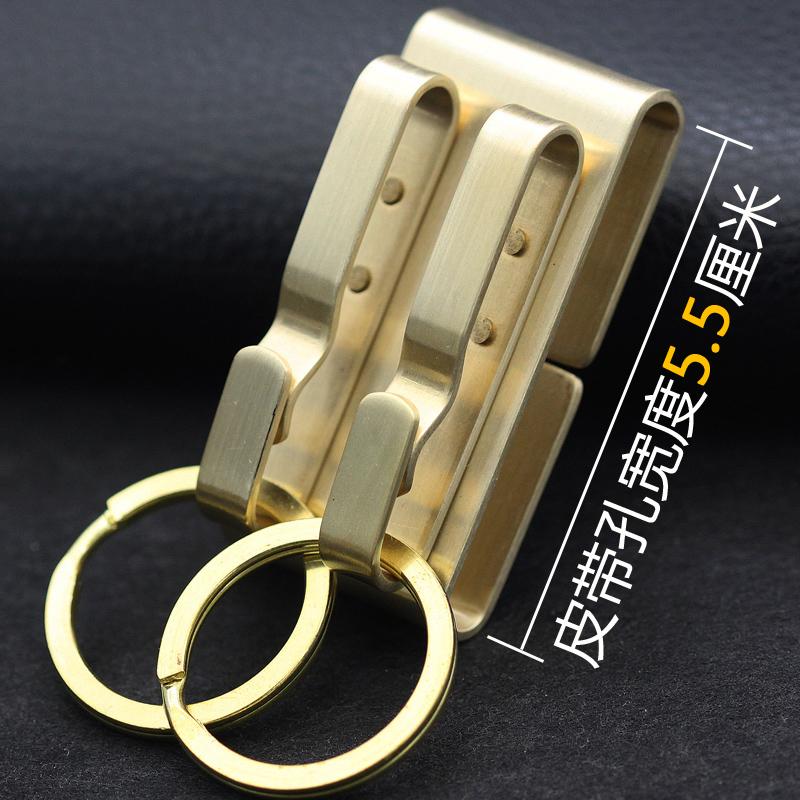 纯铜钥匙扣双挂钩穿礼品钥匙扣黄铜工艺拉丝材质腰挂皮带男士
