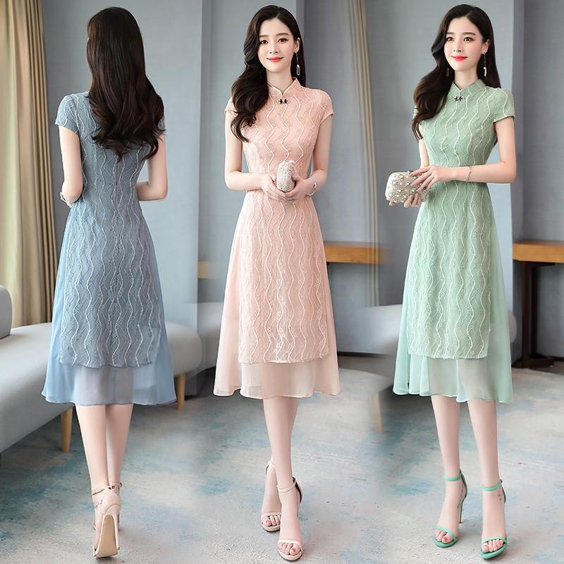 Đầm voan dài váy hè 2020 Phụ nữ khí chất mới retro Pháp nhỏ thơm phong cách cải tiến váy sườn xám - Váy dài