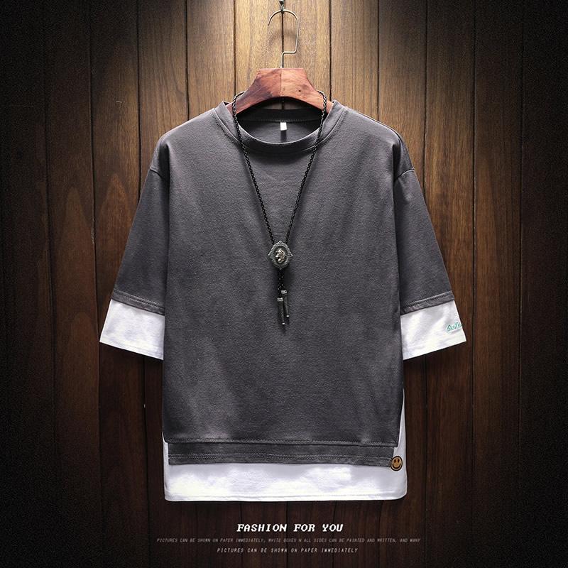 短袖男士夏季t恤圆领韩版潮流宽松半袖上衣情侣假两件体恤五分袖
