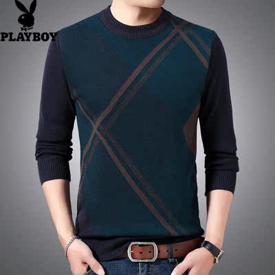 Playboy mùa đông áo len dày áo len cha tròn cổ áo len áo len trung niên giản dị quần áo nam - Kéo qua