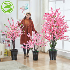 Fake peach blossom, simulated plant, potted plant, peach tree, large bonsai, plastic decoration, indoor flower, living room, decoration, green tree planting