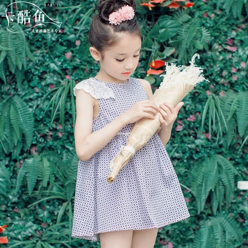 卡酷魚時尚蕾絲邊中大童連衣裙