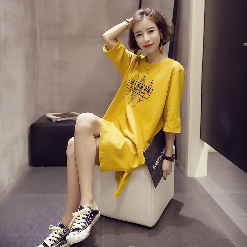 2019夏季新款休闲连衣裙韩版ins女装网红裙子短袖中长款t恤女装