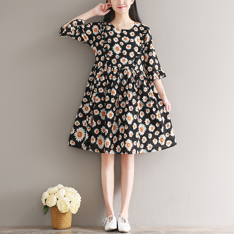 Pregnant women Spring and summer Vintage Floral Sleeve Sleeve Cotton dress Female Summer temperament Thin In Long maternity skirt