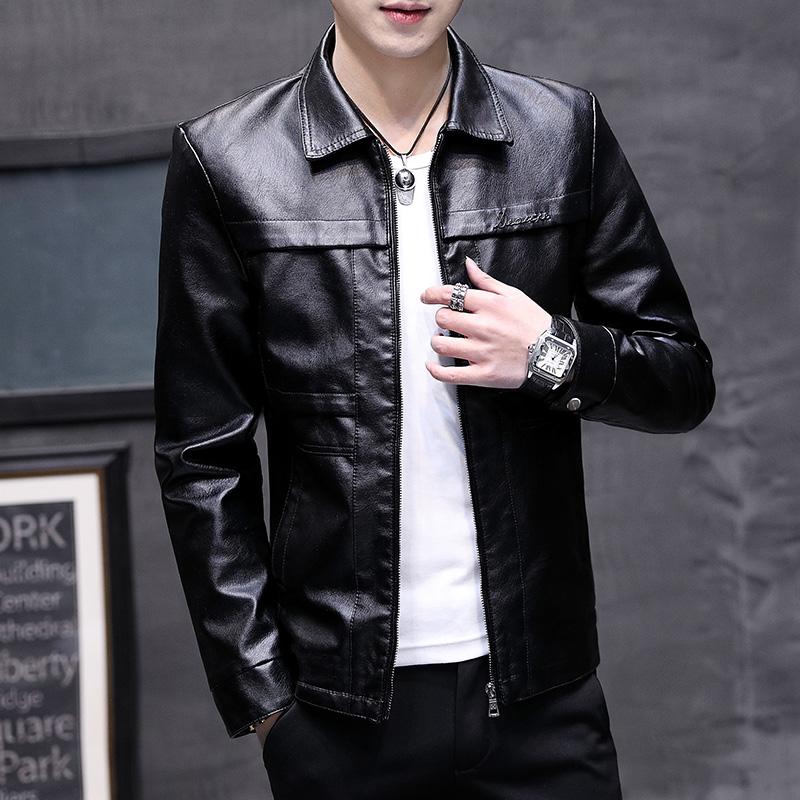 2020皮衣男青年潮流春季新款修身韓版帥氣男士春裝外套皮夾克男