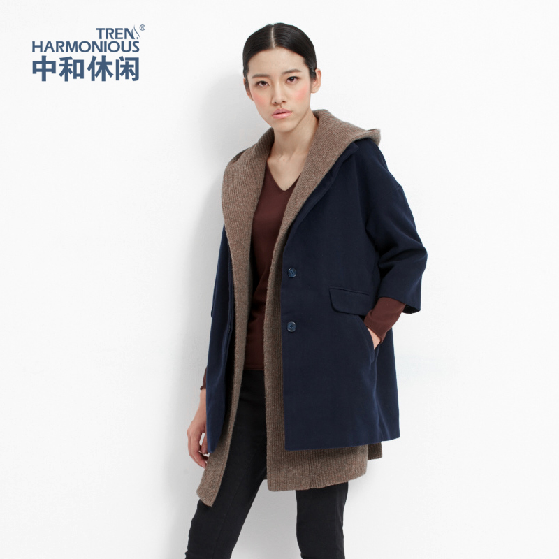 Zhonghe Casual Women Áo dài cổ cao tay áo tám điểm Tweed Áo khoác retro kiểu Nhật Bản 4905 - Áo khoác ngắn