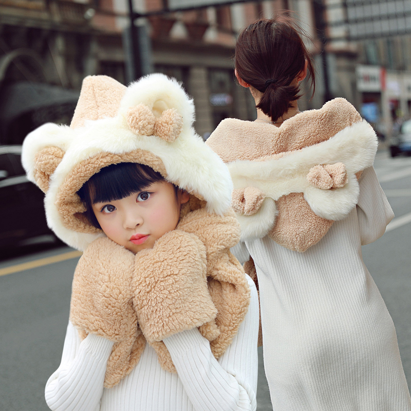 cf3b3d285c2 Hat female Winter Korean wild Tide parent-child cute children warm plus  velvet knit hat